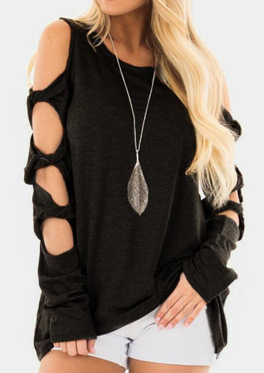 Solid Hollow Out Long Sleeve Blouse without Necklace