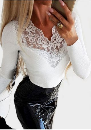 Solid Lace Floral Splicing Blouse