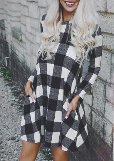 Mini Dresses Plaid Pocket Long Sleeve Mini Dress in Plaid. Size: S, M, L, XL