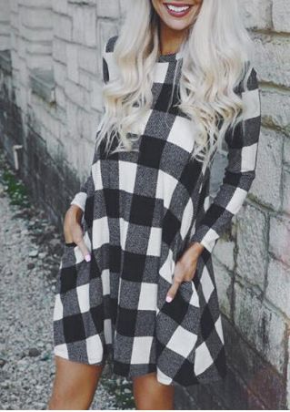 Plaid Pocket Long Sleeve Mini Dress