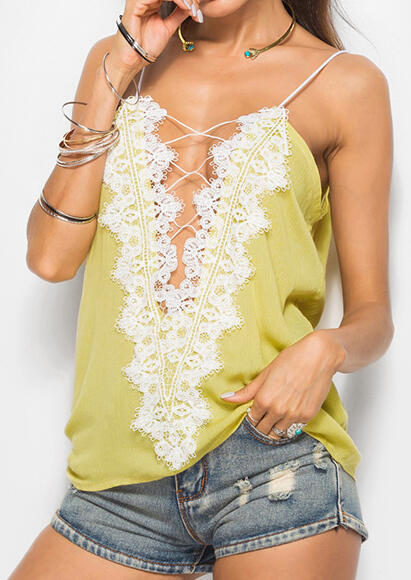 Tank Tops Solid Lace Floral Criss-Cross Camisole in White, Yellow. Size: S, M, L, XL