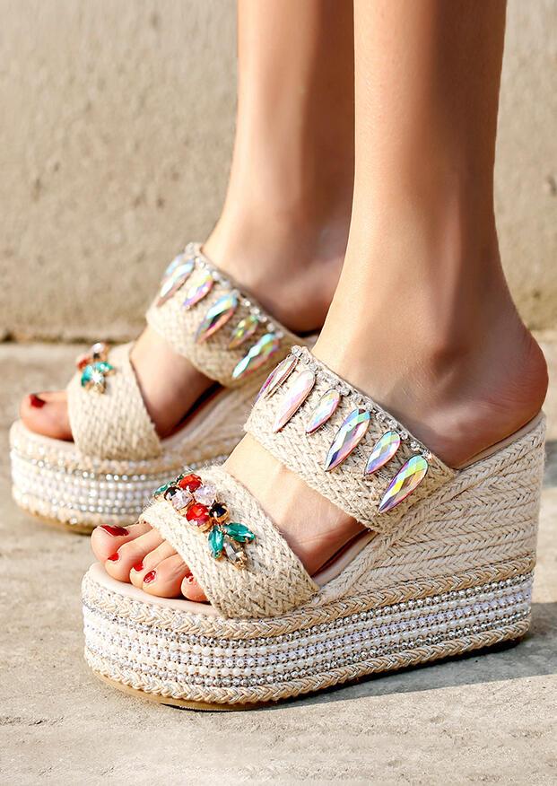 Sandals Summer Splicing Wedge Sandals in Light Khaki. Size: 35, 36, 37, 38, 39, 40