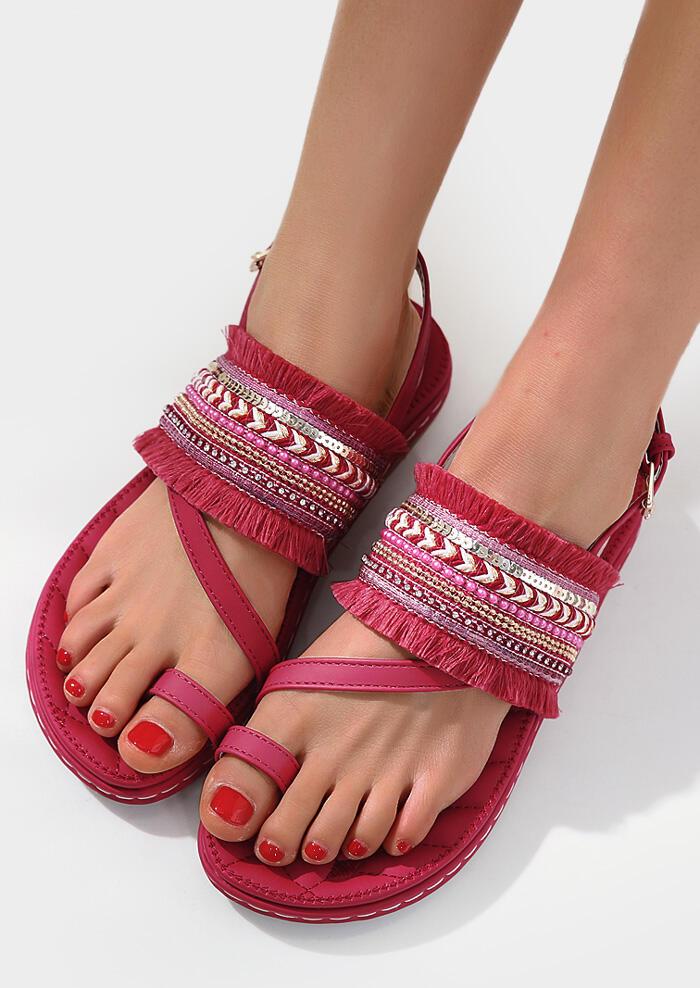 Tassel Splicing Buckle Strap Flat Sandals