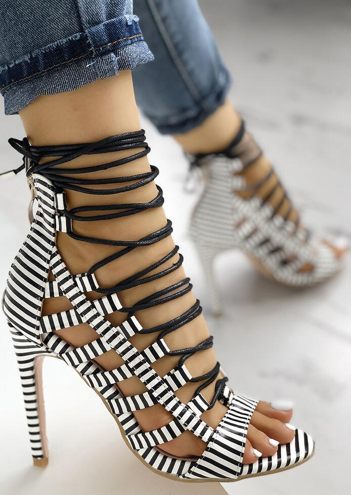 Striped Lace Up Heeled Sandals