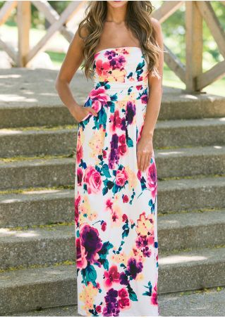 Floral Strapless Pocket Maxi Dress