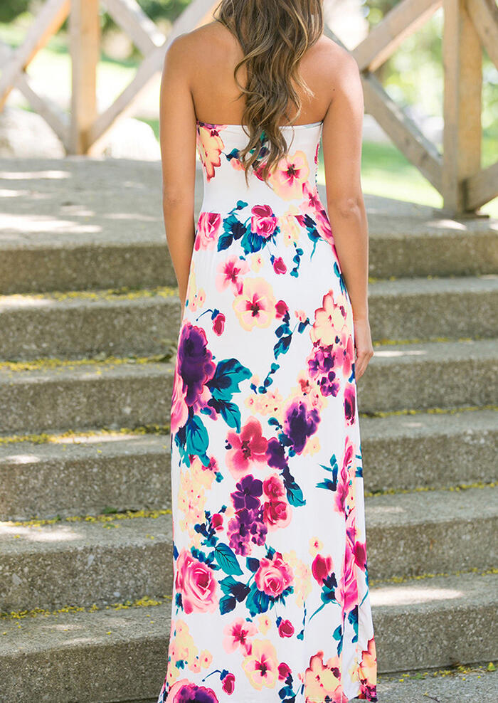 4d07d842b7e Floral Strapless Pocket Maxi Dress - Fairyseason