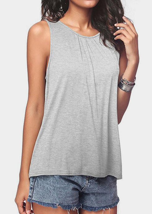Solid O-Neck Casual Tank фото