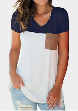 Color Block Pocket V-Neck T-Shirt Tee