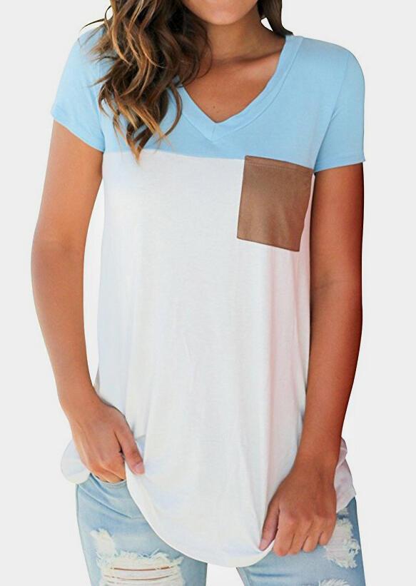 Color Block Pocket V-Neck T-Shirt Tee
