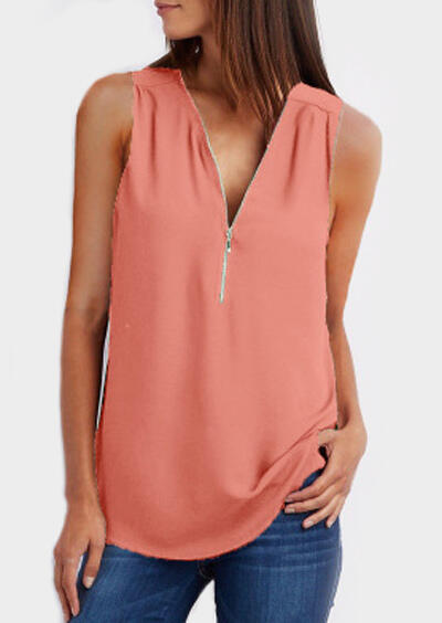 Solid Zipper V-Neck Tank фото