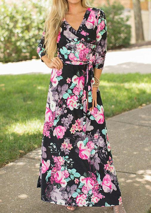 Floral Wrap V-Neck Maxi Dress
