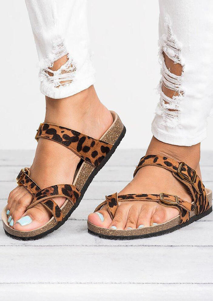 Leopard Pattern Cross Flat Slippers фото