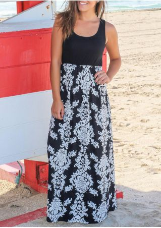 Printed Splicing Sleeveless Maxi Dress