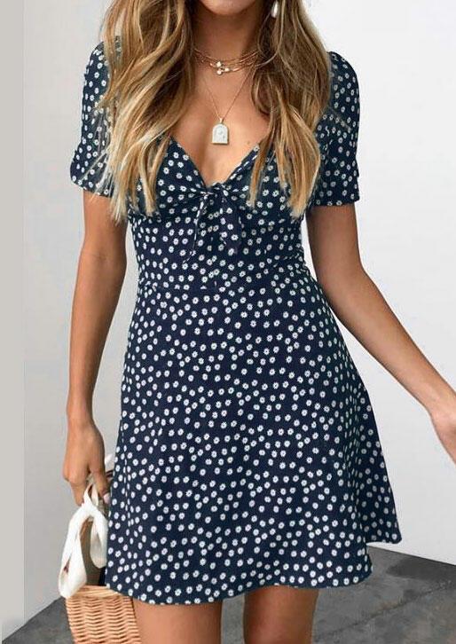 Polka Dot Deep V-Neck Mini Dress without Necklace фото