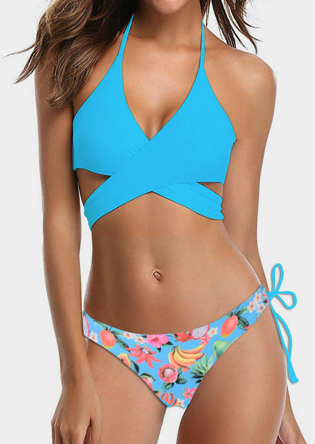 240867db2d Pineapple Wrap Halter Bikini Set - Fairyseason