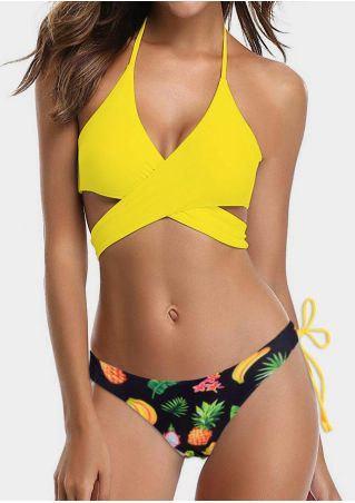 Pineapple Wrap Halter Bikini Set