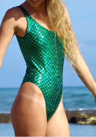 Fish Scale Printed Zipper Swimsuit
