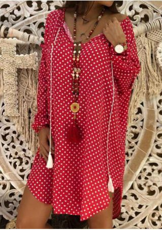 Polka Dot Tie Mini Dress without Necklace