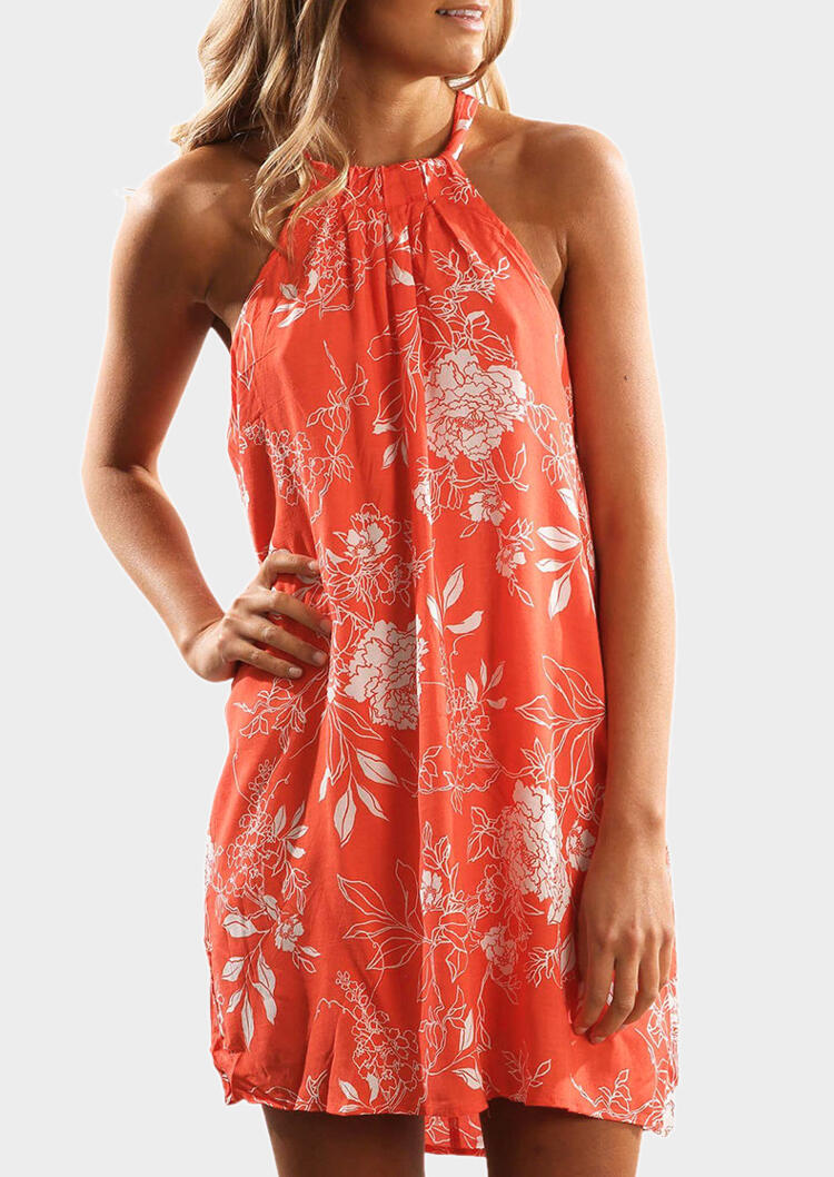 Floral Tie Sleeveless Mini Dress – Orange