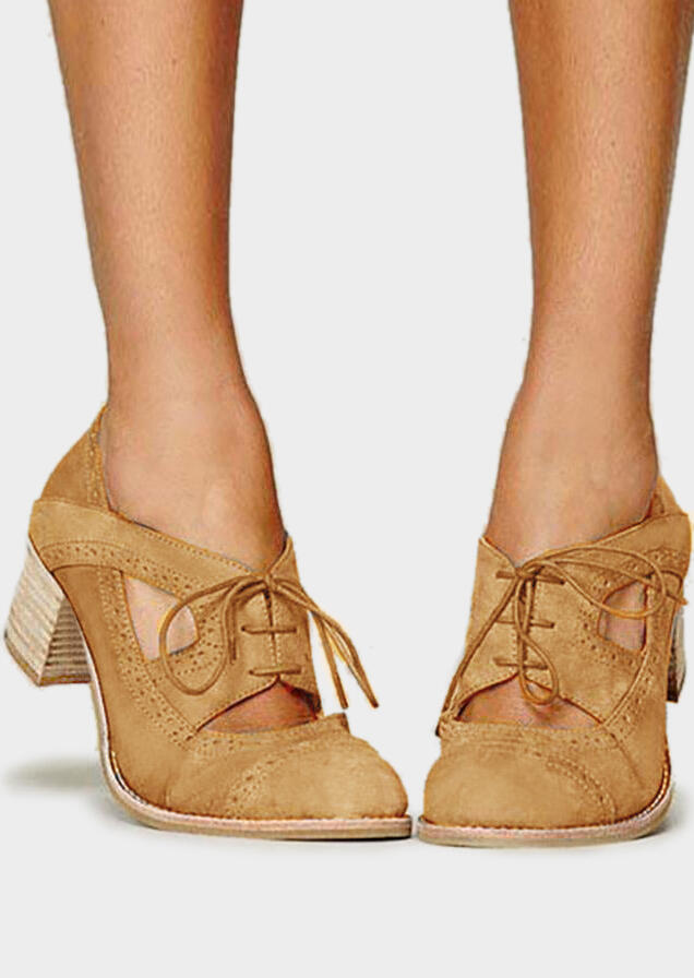 Solid Lace Up Hollow Out Heels