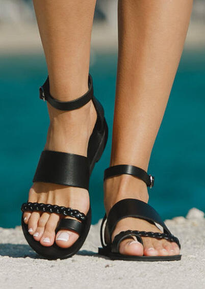 Solid Braid Ankle Strap Flat Sandals