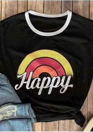 Happy Rainbow O-Neck T-Shirt Tee