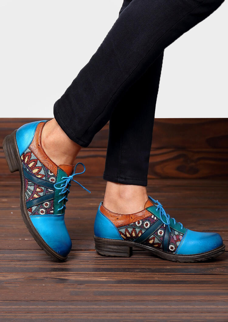 Image of Color Block Lace Up Leather Flats