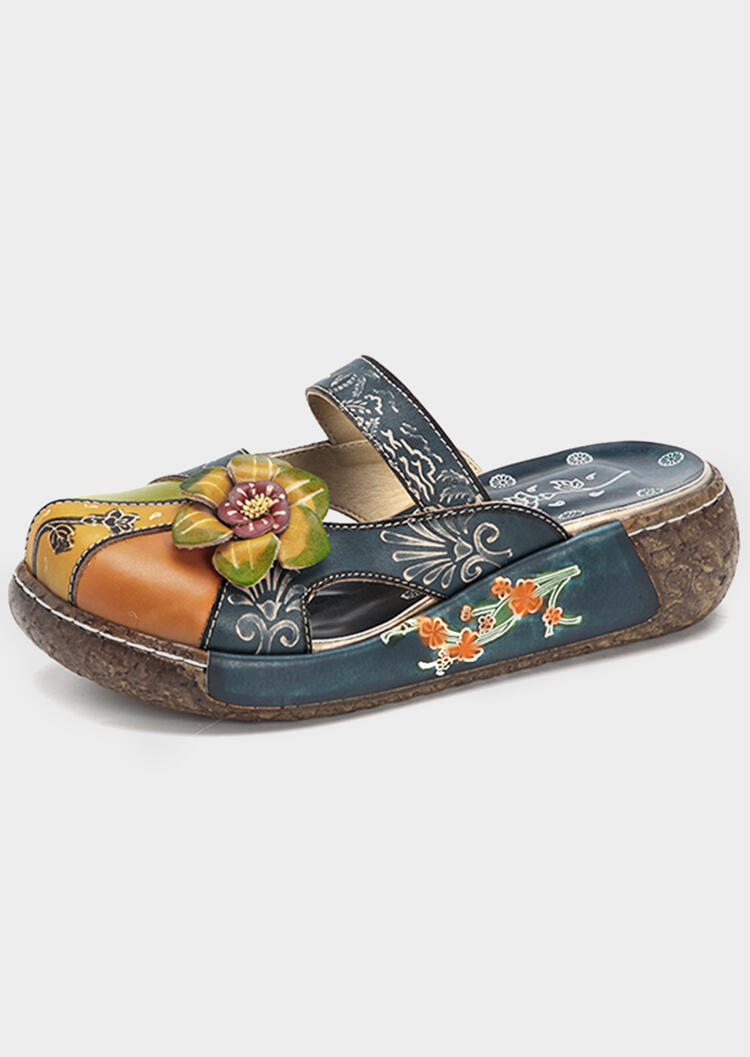 Flower Round Toe Leather Slippers
