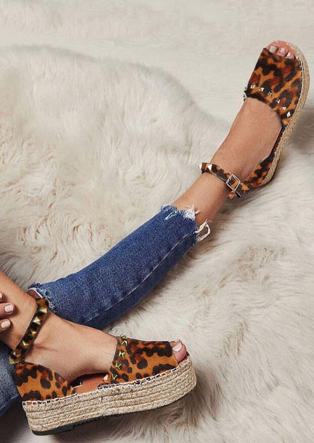 Leopard Printed Ankle Strap Wedge Sandals