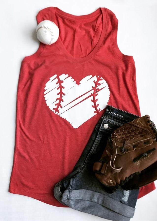 Tank Tops Baseball Heart O-Neck Tank in Black,Gray,Red. Size: S,M,L,XL,2XL фото