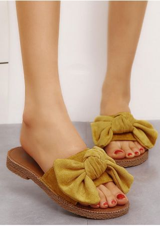 Solid Bowknot Flat Slippers