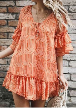 Striped Ruffled Tie Mini Dress without Necklace