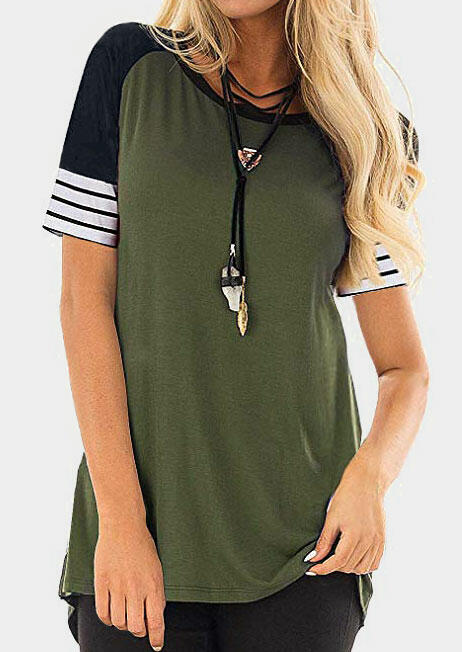 Striped O-Neck Baseball T-Shirt Tee without Necklace