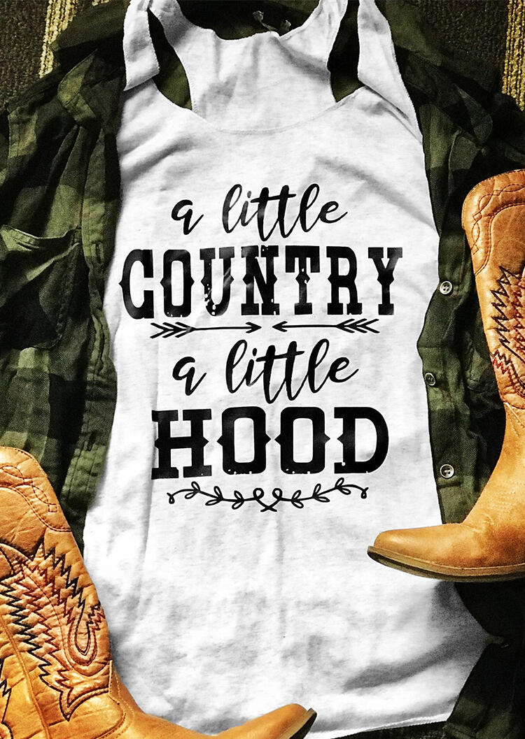 A Little Country A Little Hood Tank Top in White. Size: S,M,L,XL,2XL,3XL фото
