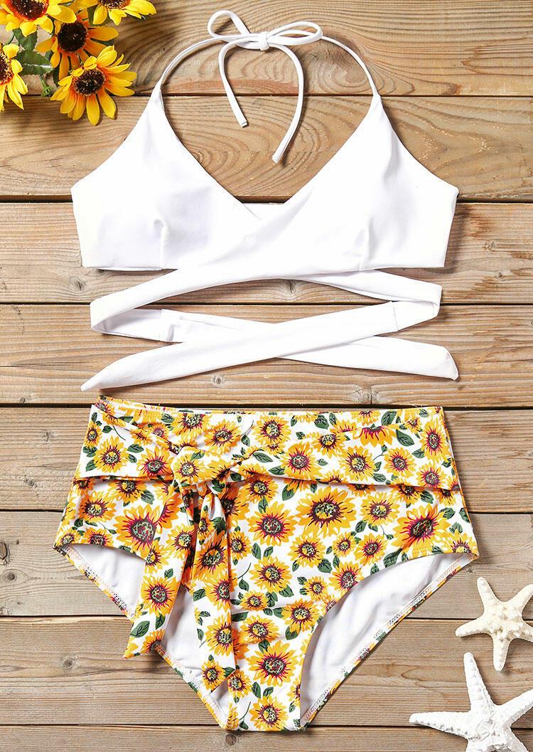 f8aae189a5a77 Floral High Waist Bikini Set - Fairyseason