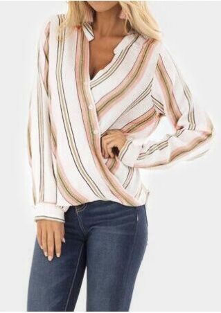 Striped Button V-Neck Blouse
