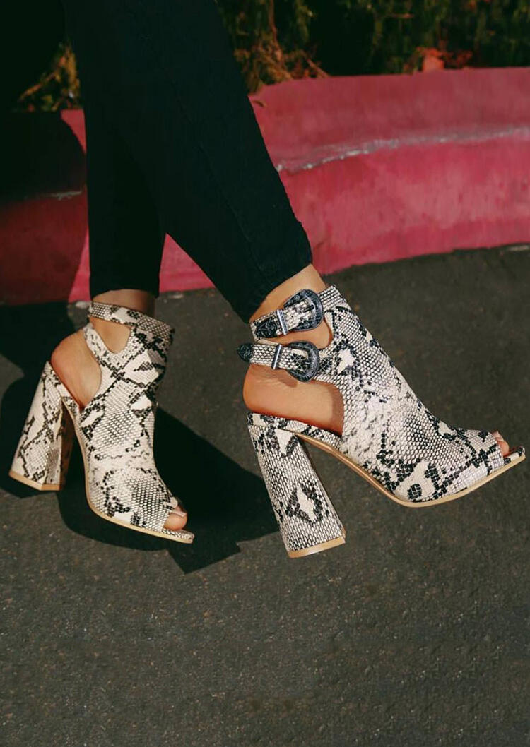 Snake Skin Printed Hollow Out Heeled Sandals фото