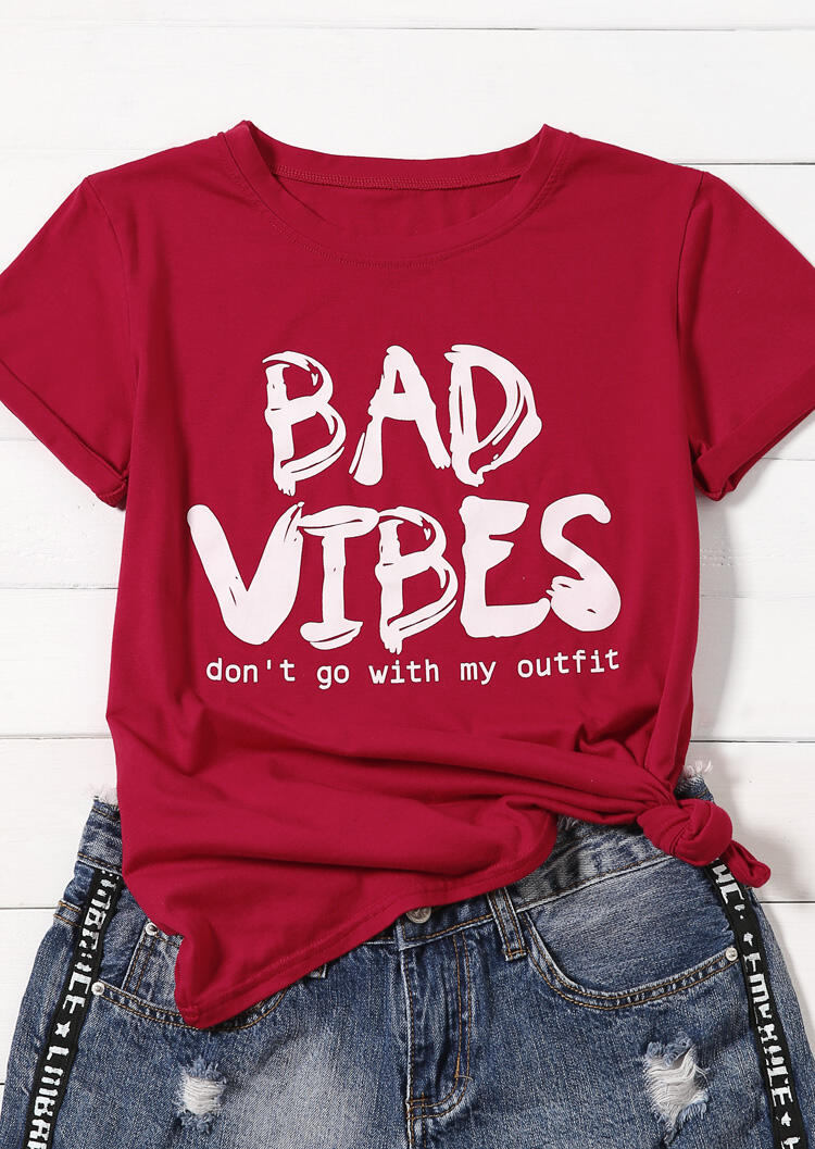Tees T-shirts Bad Vibes O-Neck T-Shirt Tee-Rouge. Taille: S,M,L,XL