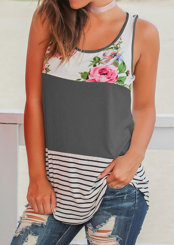 Floral Striped Casual Tank without Choker фото