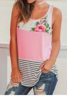 Floral Striped Casual Tank without Choker