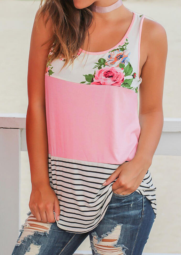 Tank Tops Floral Striped Casual Tank without Choker in Pink. Size: S фото