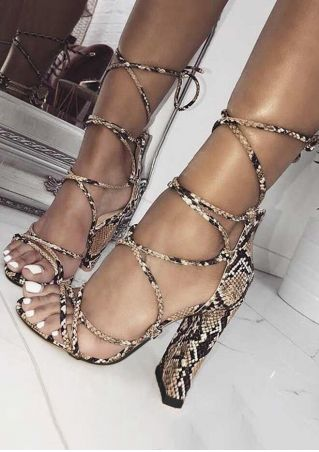 Snake Skin Printed Cross-Tied Heeled Sandals