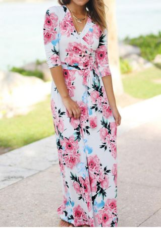 Floral Wrap V-Neck Maxi Dress without Necklace