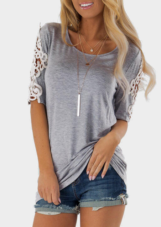 Solid Lace Floral O-Neck Blouse without Necklace фото