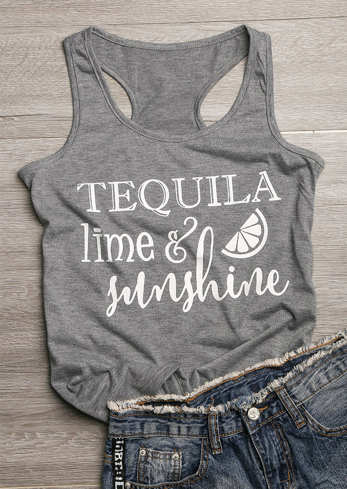 Tank Tops Tequila Lime & Sunshine Tank in Gray. Size: S фото