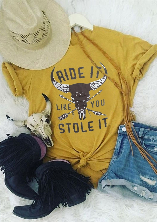 Tees T-shirts Ride It Like You Stole It T-Shirt Tee in Yellow. Size: S,M,L,XL фото