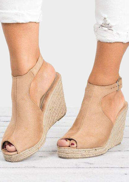 Sandals Solid Peep Toe Wedge Sandals in Khaki,Deep Blue. Size: 37,38,39,40,41