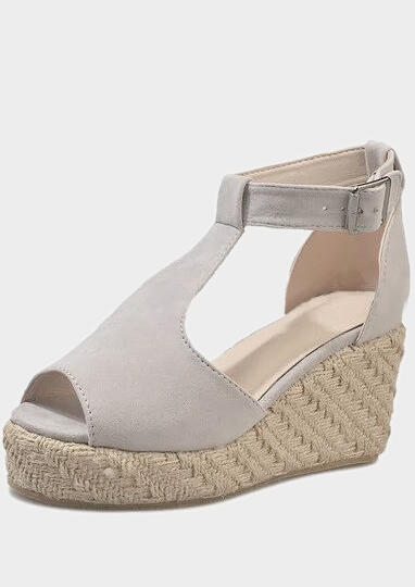 FairySeason / Solid Buckle Strap Peep Toe Wedge Sandals
