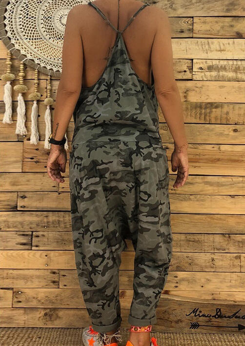 760ecfacc1 Camouflage Printed Pocket Jumpsuit - Fairyseason