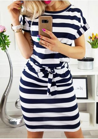 Striped Tie O-Neck Pocket Bodycon Dress
